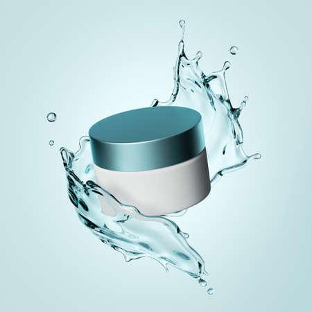 3d rendering, cosmetic bottle branding mockup, white cream jar and water splash levitate, blank package for skin care product Foto de archivo