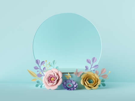 .3d render, abstract holiday botanical pastel blue background. Blank floral poster mockup. Round frame, craft paper flowers. Shop product display, empty podium, showcase stand, vacant pedestal stage