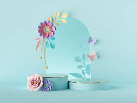 3d render, abstract blue botanical floral background. Frame with colorful paper flowers, botanical arch. Shop product showcase display, empty podium, vacant pedestal, round stand. Blank poster mockup