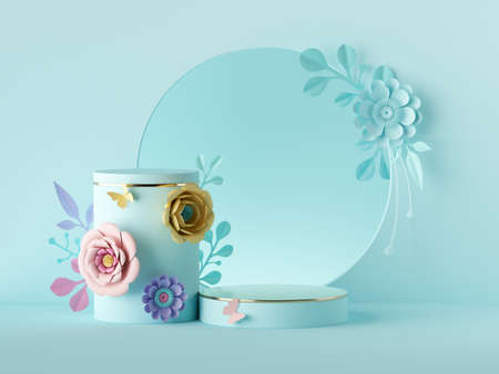 .3d render, abstract holiday botanical pastel blue background. Blank floral poster mockup. Round frame, craft paper flowers. Shop product display, showcase stand, empty podium, vacant pedestal stage