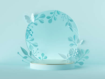 3d render, abstract blue botanical background. Blank poster mockup. Round frame with craft paper flowers, floral arch. Shop product display showcase stand, empty podium, vacant pedestal, round stage
