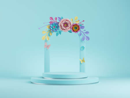3d render, abstract blue floral background. Frame with colorful paper flowers, botanical arch. Shop product display showcase, empty podium, vacant pedestal, round stage. Blank poster mockup