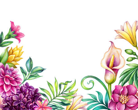 digital watercolor botanical illustration, tropical flowers isolated on white background. Palm leaves, calla lily, plumeria, hydrangea, gerber. Floral arrangement. Greeting card, copy space