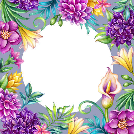 digital watercolor botanical illustration, violet floral background, round white copy space, wild tropical flowers. Paradise nature, summer garden. Palm leaves, calla lily, plumeria, hydrangea, gerber
