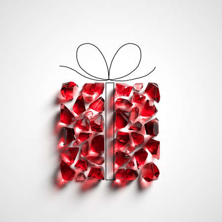 3d render, red glass pieces, ruby gemstones in the shape of a gift box. Abstract Christmas festive clip art isolated on white background