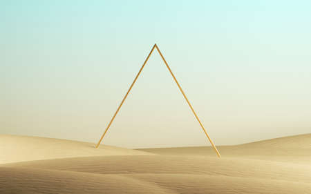 3d render, abstract modern minimal background with blank triangular frame, primitive geometric shape, desert landscape with sand dunes