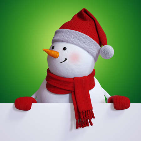 3d render, Christmas greeting card with cute snowman looks left, blank banner mockup with green background Zdjęcie Seryjne