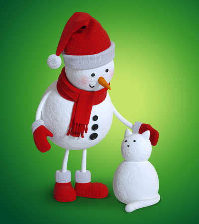 3d render, cute snowman and snow cat, Christmas character illustration, holiday clip art isolated on green background Zdjęcie Seryjne