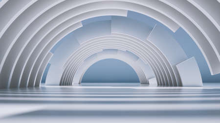 3d render, abstract minimal background with white round arches.
