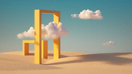 3d render, Surreal desert landscape with white clouds going into the yellow square portals on sunny day. Modern minimal abstract background