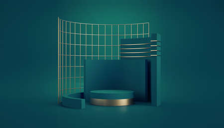 3d render, abstract geometric green background. Primitive shapes, cylinder podium, blank template, gold metal grid. Modern showcase mockup with space for product presentation