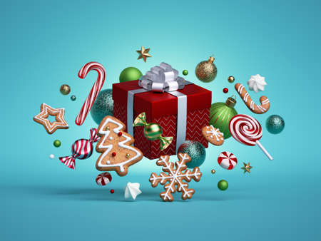 3d render, Christmas festive gift box, decorated with gingerbread cookies and balls ornaments isolated on blue background. Objects levitate