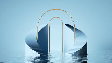 3d render, abstract pastel blue background. Modern minimal showcase for product presentation, simple art deco scene with steps, round arches and reflections in the water