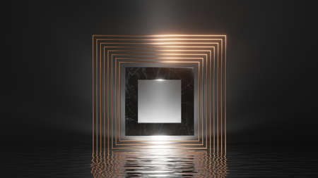 3d render, abstract geometric background. Modern minimal showcase for product presentation, simple dramatic scene with shiny golden frames, black marble square and reflections in the water 写真素材