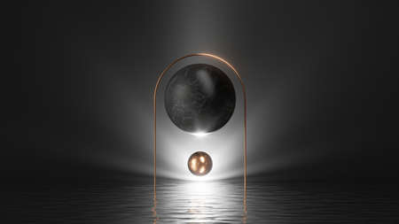 3d render, abstract black geometric background. Modern minimal scene with bright light, shiny golden arch, balls and reflections in the water 写真素材