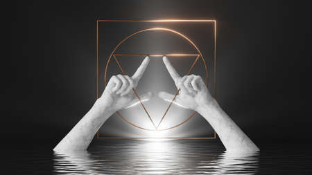 3d render, white marble mannequin hands on black background, sacred geometric frame. Modern minimal scene with bright light and reflections in the water
