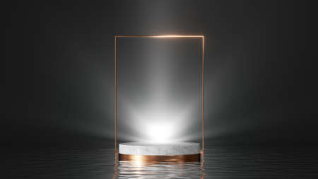 3d render, abstract black minimal background. Simple showcase with white marble podium, shiny light, golden square frame and reflections in the water. Product display stand for product presentation