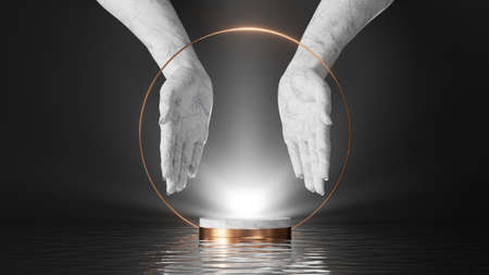 3d render, abstract scene with white marble hands on black background, bright shining light and reflections in the water. Modern minimal showcase with empty marble podium for product presentation 写真素材