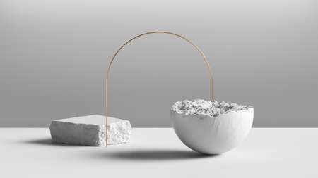 3d render, abstract background with white stone blocks, broken hemisphere and golden arch. Modern minimal installation, showcase scene for product presentation