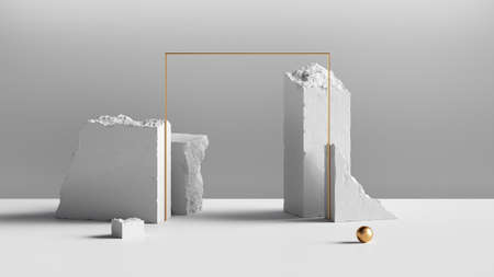 3d render, abstract white background with white cobblestone blocks, golden square frame and small ball. Modern minimal showcase for product display