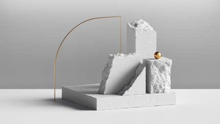 3d render, abstract background with white cobblestone blocks and golden arch. Modern minimal installation, showcase scene for product presentation