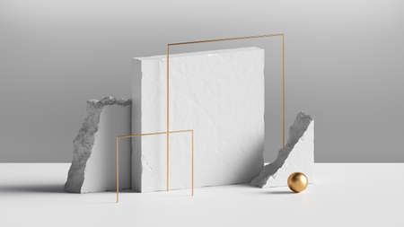3d render, abstract background with white concrete blocks and golden square frames. Modern minimal installation, showcase scene for product presentation