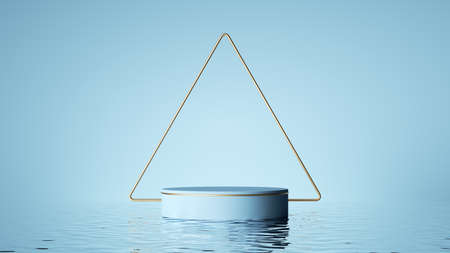 3d render, abstract pastel blue geometric background. Modern showcase for product presentation, minimal scene with empty pedestal, golden triangular frame and reflections in the water 写真素材