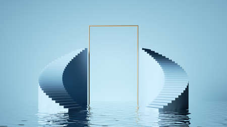 3d render, abstract pastel blue background. Modern minimal showcase for product presentation, simple art deco scene with steps, golden rectangle frame and reflections in the water 写真素材