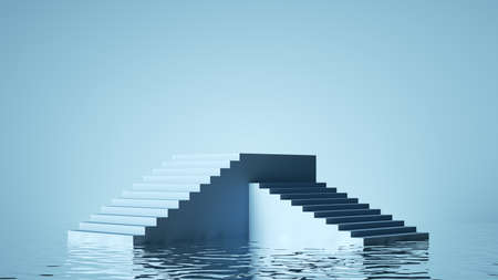 3d render, abstract pastel blue geometric background. Modern minimal showcase for product presentation, simple scene with steps empty podium and reflections in the water