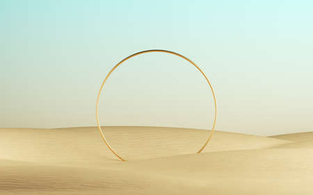 3d render, golden ring round frame on a desert landscape, abstract modern minimal background. Showcase with space for product presentation 写真素材