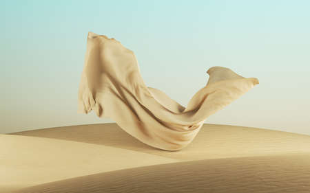 3d render, abstract modern minimal fashion background with sand dunes and falling drapery, desert landscape with flying fabric