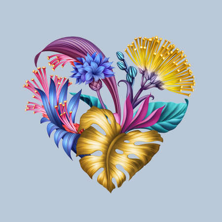 digital floral illustration, abstract heart symbol with colorful tropical fantasy flowers