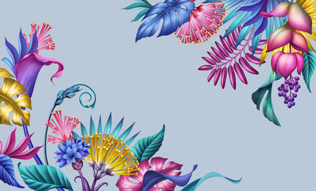 digital illustration with floral corners, abstract botanical background with colorful fantasy tropical flowers