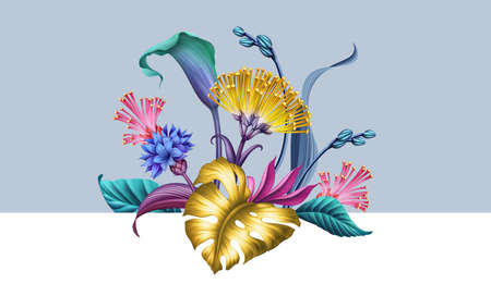 digital floral illustration, abstract botanical arrangement with colorful fantasy tropical flowers