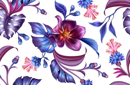 seamless floral pattern with assorted tropical fantasy flowers and leaves isolated on white background, blue purple botanical wallpaper