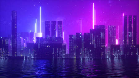 3d render, abstract ultraviolet background with urban skyscrapers illuminated with neon light. Starry night sky and water