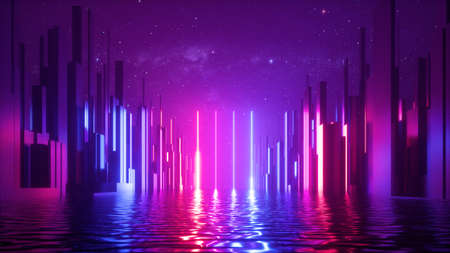 3d render, abstract futuristic geometric background with red blue neon light, starry night sky and reflection in the water