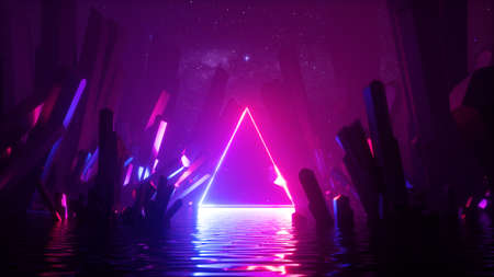 3d render, abstract neon background with glowing laser triangular frame, crystals under the starry night sky and reflection in the water. Futuristic terrain, fantasy landscape 写真素材