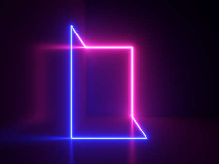 3d render, abstract background with minimal geometric shape glowing with pink and blue neon light in the dark
