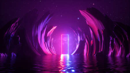 3d abstract neon background. Cosmic landscape, terrain at night with rocks and water. Rectangular frame glowing with pink blue neon light. 写真素材