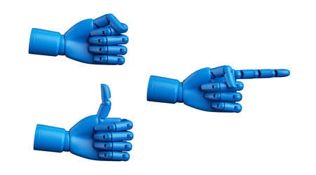 3d render, blue dummy mannequin hand, mechanical robot manipulator, set of assorted gestures isolated on white background. Thumb up and pointing finger. Artificial body part prosthesis