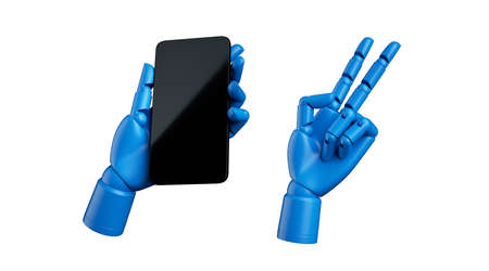 3d render mechanical blue dummy mannequin hand holds smart phone in vertical position, isolated on white background. Abstract black glossy electronic device. Wireless technology concept