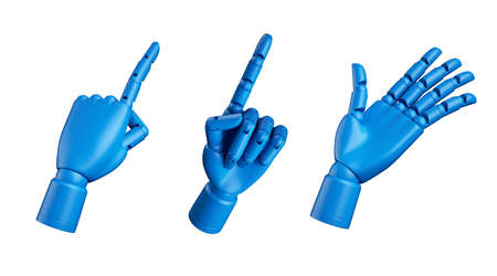 3d render, blue dummy mannequin hand, mechanical robot prosthesis, set of assorted gestures isolated on white background, artificial human body part clip art collection 写真素材