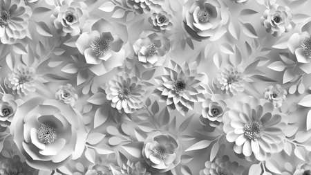 3d render, abstract wedding background with white paper flowers and leaves, floral botanical wallpaper 写真素材