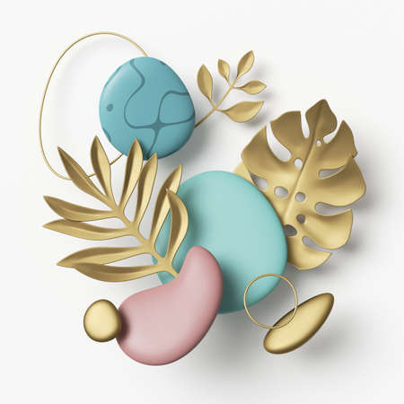 3d render, abstract composition with assorted golden leaves and geometric shapes, gold rings and pink blue pebbles isolated on white background 写真素材