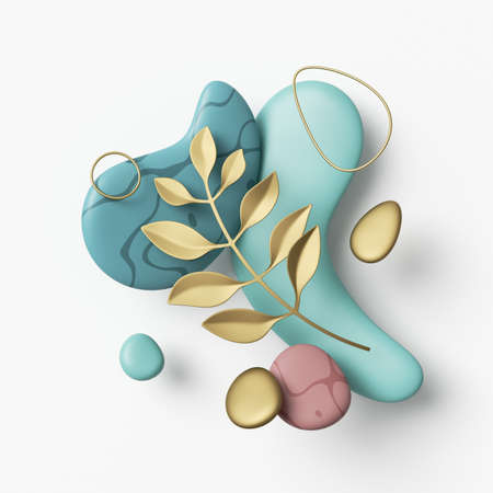 3d render, abstract composition with golden leaf, gold wire rings and blue pebbles isolated on white background 写真素材