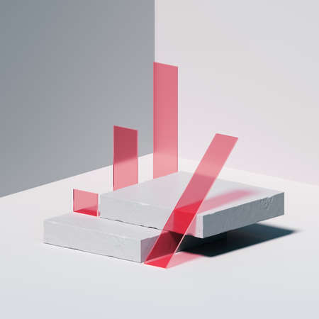 3d render, abstract background with white square concrete blocks and red glass pieces. Modern minimal isometric showcase scene with empty podium for product presentation 写真素材