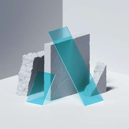 3d render, abstract geometric background with white concrete blocks, broken stone ruins and blue square glass pieces. Modern minimal isometric showcase scene