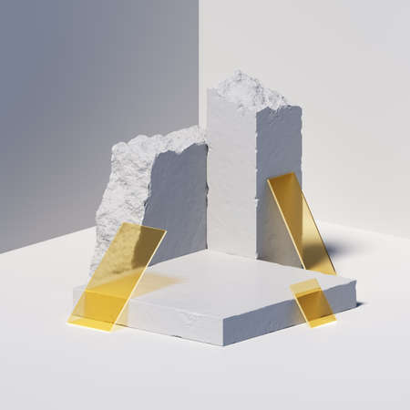 3d render, abstract geometric background with white concrete blocks, broken stone and yellow square glass pieces. Modern minimal showcase scene with empty podium for product presentation