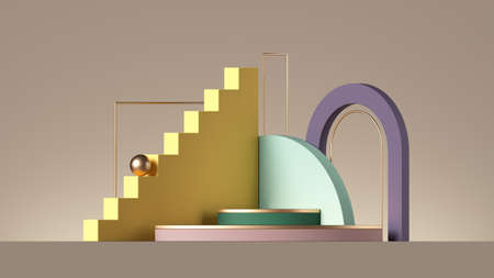 3d render, abstract beige background with colorful geometric elements. Minimal showcase scene with empty podium for product presentation 写真素材